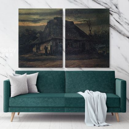Cottage At Nightfall by Vincent Van Gogh Dutch Painter Original Painting Photo Print on Canvas Wall Mural Hanging