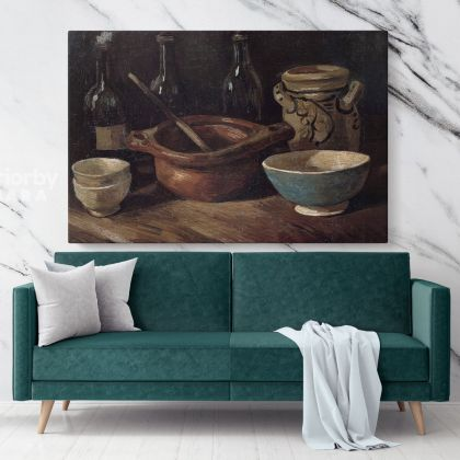 Still Life With Three Bottles And Earthenware Vessel by Vincent Van Gogh Dutch Painter Original Painting Canvas Photo Print Wall Art