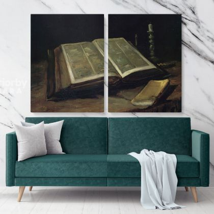 Still Life With Bible by Vincent Van Gogh Dutch Painter Original Painting Photo Print on Canvas Wall Artwork Home Decor