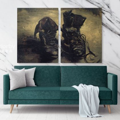 A Pair Of Shoes Painting by Vincent Van Gogh Dutch Painter Original Painting Photo Print on Canvas Wall Artwork Decor