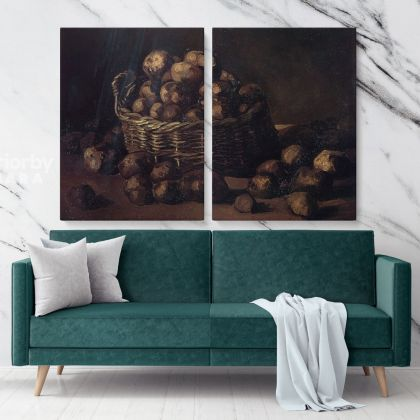 Still Life With A Basket Of Potatoes by Vincent Van Gogh Dutch Painter Original Painting Photo Print on Canvas Wall Mural