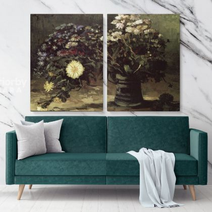 Vase With Daisies Painting by Vincent Van Gogh Dutch Painter Original Painting Canvas Photo Print Wall Artwork Decor