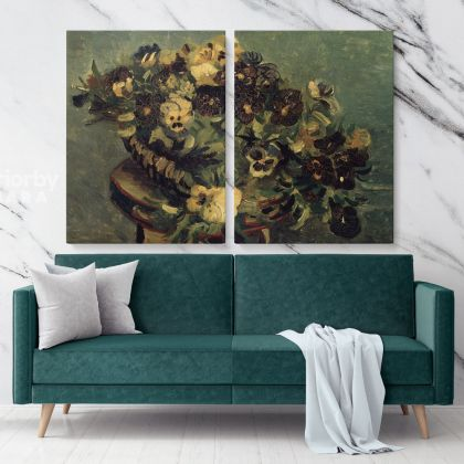 Basket With Pansies On A Table Painting by Vincent Van Gogh Dutch Painter Original Painting Canvas Photo Print Wall Mural