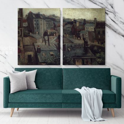 View Of The Roofs Of Paris Painting by Vincent Van Gogh Dutch Painter Original Canvas Painting Photo Print Wall Artwork