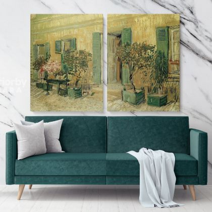 Restaurant At Asnieres Painting by Vincent Van Gogh Dutch Painter Original Painting Photo Print on Canvas Wall Mural