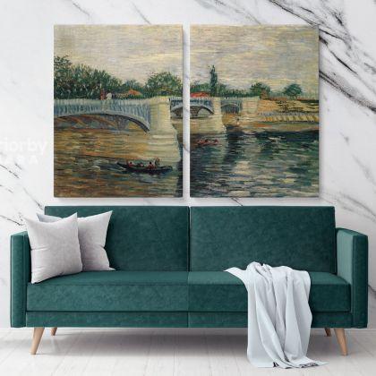 The Seine With The Pont De La Grande Jatte Painting by Vincent Van Gogh Dutch Painter Original Painting Canvas Photo Print Wall Artwork