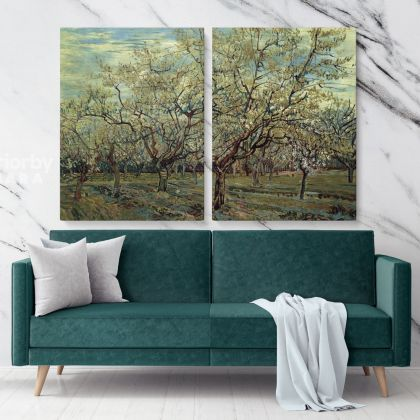 The White Orchard Painting by Vincent Van Gogh Dutch Painter Original Painting Photo Print on Canvas Wall Mural Gift
