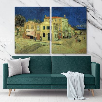 The Yellow House Painting by Vincent Van Gogh Dutch Painter Original Painting Photo Print on Canvas Wall Mural Gift