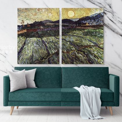 Enclosed Filed with Rising Sun Painting by Vincent Van Gogh Dutch Painter Original Painting Photo Print on Canvas Wall Art