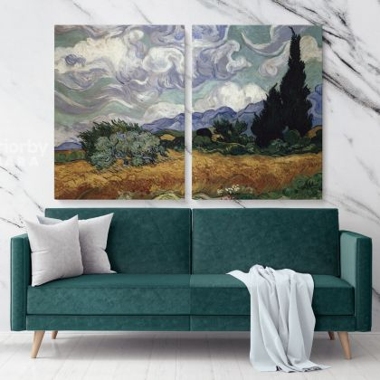 Wheatfield with Cypresses Painting by Vincent Van Gogh Dutch Painter Original Painting Photo Print on Canvas Wall Mural