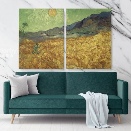 Wheatfield With Reaper and Sun Painting by Vincent Van Gogh Dutch Painter Original Painting Photo Print on Canvas Wall Mural