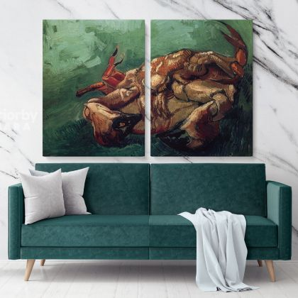 Crab on its Back Painting by Vincent Van Gogh Dutch Painter Original Painting Photo Print on Canvas Wall Mural Artwork