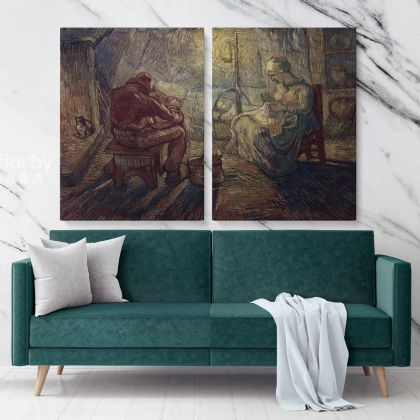 Evening The Watch (After Millet) Painting by Vincent Van Gogh Dutch Painter Original Painting Photo Print on Canvas Wall Mural