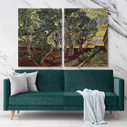 The Garden Of Saint Paul's Hospital Painting by Vincent Van Gogh Dutch Painter Original Painting Photo Print on Canvas Wall Mural