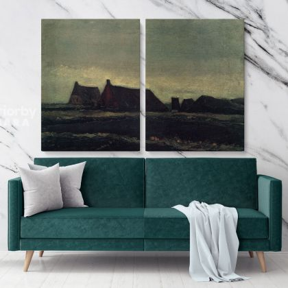 Cottages Painting by Vincent Van Gogh Dutch Painter Original Painting Photo Print on Canvas Wall Art Mural Gift