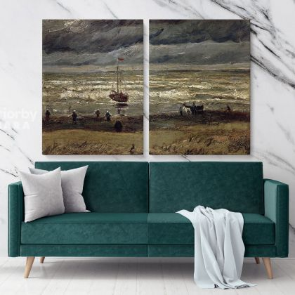 Beach At Scheveningen In Stormy Weather Painting by Vincent Van Gogh Dutch Painter Original Painting Photo Print on Canvas Wall Mural