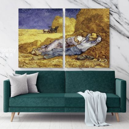 Noon Rest From Work Painting by Vincent Van Gogh Dutch Painter Original Painting Photo Print on Canvas Wall Mural