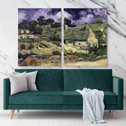 Thatched Cottages In Cordeville Painting by Vincent Van Gogh Dutch Painter Original Painting Photo Print on Canvas Wall Mural