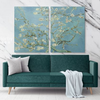 Almond Blossoms Painting by Vincent Van Gogh Dutch Painter Original Painting Photo Print on Canvas Wall Mural Artwork