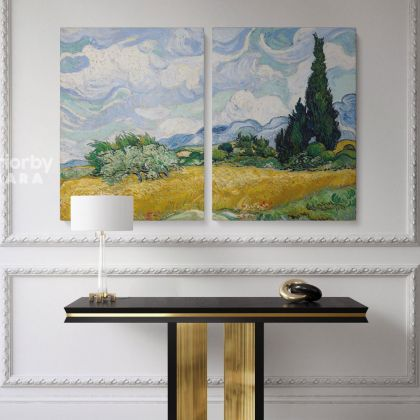Vincent Van Gogh Original Painting Wheat Field with Cypresses Canvas Photo Print Posters Home Decor Wall Mural