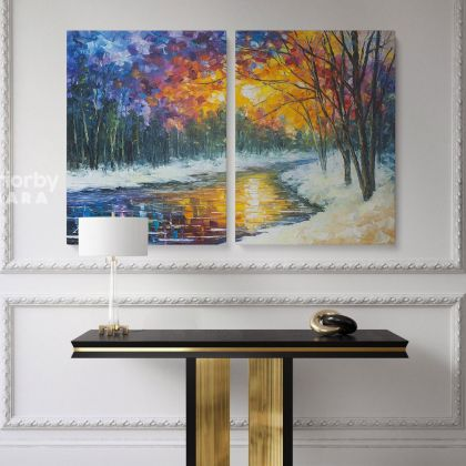 Leonid Afremov Original Oil Painting Photo Print on Canvas Melting River Famous Painting Posters Home Decor Wall Mural