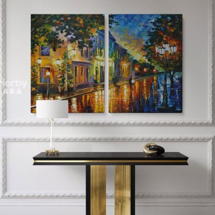 Leonid Afremov On The Way To Morning Original Oil Painting Photo Print on Canvas Posters Home Decor Wall Mural