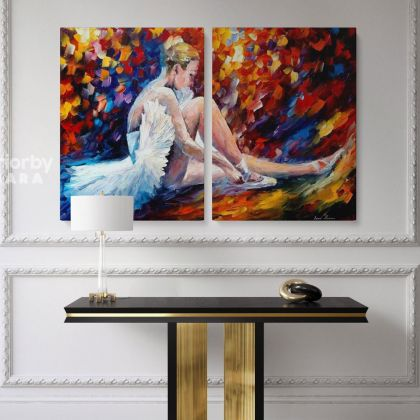 Young Ballerina Original Oil Painting by Leonid Afremov Photo Print on Canvas with Frame Home Decor Wall Mural