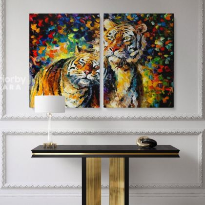 Tiger Animal Oil Painting by Leonid Afremov Original Painting Canvas Photo Print Home Decor Wall Mural Posters