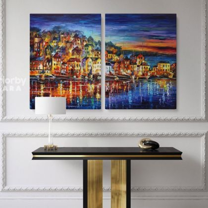 Famous Quiet Town Original Oil Painting by Leonid Afremov Photo Print on Canvas with Frame Home Decor Wall Posters