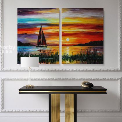 Famous Sunset Oil Painting by Leonid Afremov Photo Print on Canvas Original Painting Photo Home Decor Wall Mural Posters
