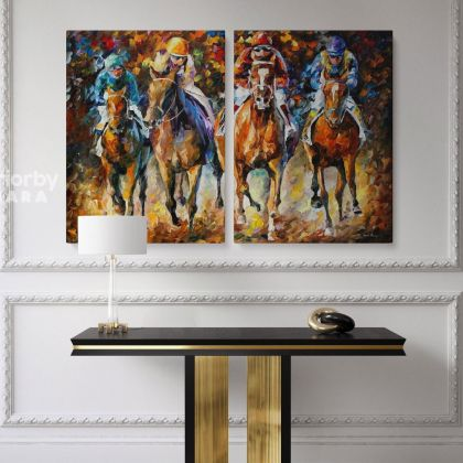 Famous Horse Racing Painting by Leonid Afremov Oil Painting Canvas Photo Print with Frame Home Decor Wall Mural Hanging