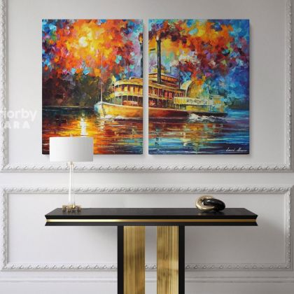 Famous Steamboat Painting Original Oil Painting by Leonid Afremov Photo Print on Canvas Home Decoration Wall Posters