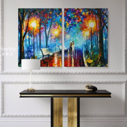 Misty Mood Night Walk in Rain Oil Painting by Leonid Afremov Canvas Photo Print with Frame Home Decor Wall Mural Gift
