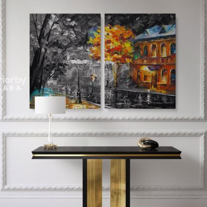 Leonid Afremov Black and White Oil Painting Rain In The City Photo Print on Canvas with Frame Home Decor Wall Mural Hangings