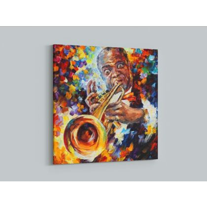 Louis Armstrong Music Palette Knife Oil Painting by Leonid Afremov Canvas Photo Print Home Decor Wall Posters