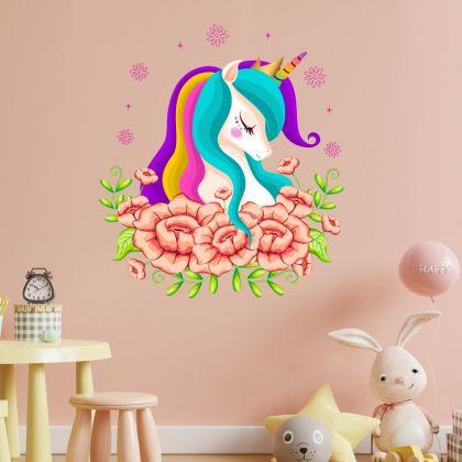 Floral Unicorn Wall Sticker Wall Decal Stickers Fantasy Girls Bedroom Wall Art Cute Nursery