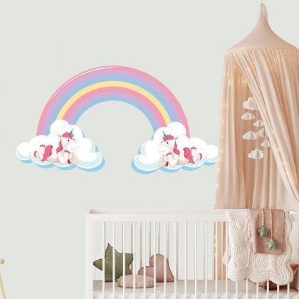 Rainbow Wall Sticker with Unicorn Wall Decal Stickers Fantasy Girls Bedroom Wall Art Cute Nursery