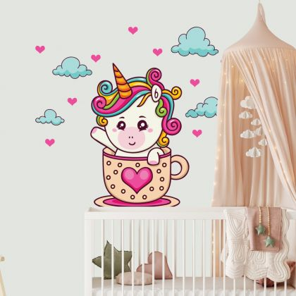 Baby Unicorn Wall Decal Stickers Fantasy Girls Bedroom Wall Art Cute Nursery