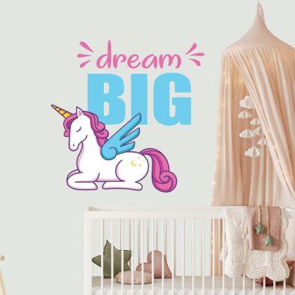 Dream Big Unicorn Quote wall sticker, unicorn wall decal, Flower room decor, unicorn room décor