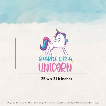 Sparkle like a Unicorn Quote wall sticker, unicorn wall decal, Flower room decor, unicorn room décor