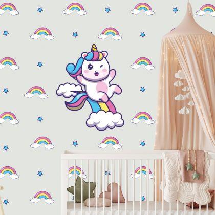 Rainbow Pattern Wall Sticker with Unicorn Wall Decal Stickers Fantasy Girls Bedroom Wall Art Cute Nursery