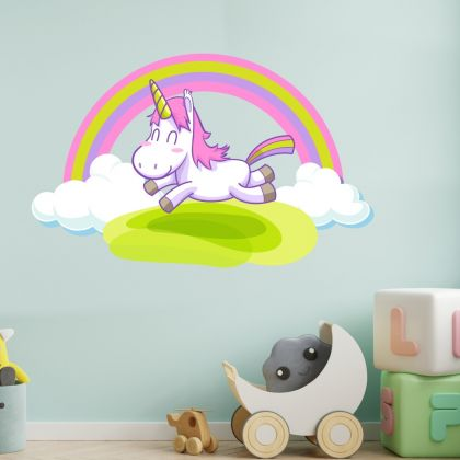 Unicorn with Rainbow Wall Decal Stickers Fantasy Girls Bedroom Wall Art Cute Nursery