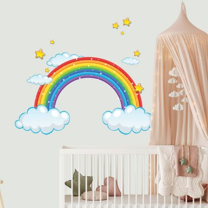Rainbow Wall Decal Stickers Fantasy Girls Bedroom Wall Art Cute Nursery