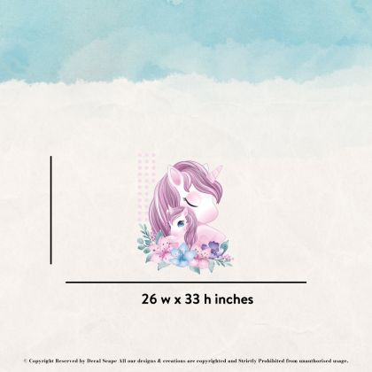 Mother and Baby Unicorn Wall Sticker with Polka Dot Wall Decal Fantasy Girls Bedroom Wall Art Cute Nursery