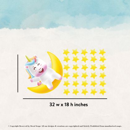 Unicorn with Moon Wall Sticker Wall Decal Stickers Fantasy Girls Bedroom Wall Art Cute Nursery