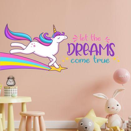 Let the dream come true Unicorn Quote wall sticker, unicorn wall decal, Flower room decor, unicorn room décor