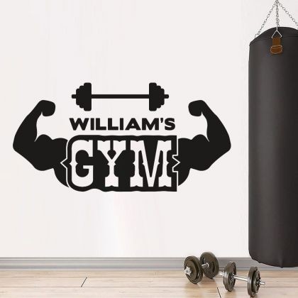 Personalized Name Home Gym Fitness Wall Decal, Custom Name Gym Room Decor, Home Gym Vinyl Wall Sticker