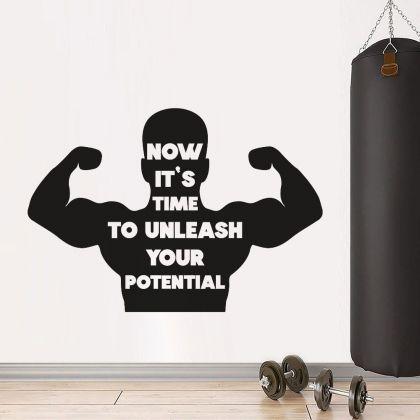 Motivational Home Gym Wall Decal,Inspirational Words Gym Room Decor, Home Gym Vinyl Wall Sticker