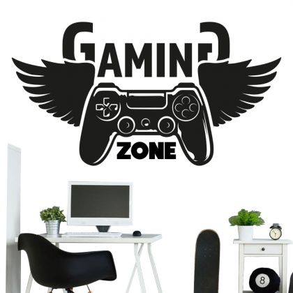 Gaming Zone Wall Decal Sticker Gamer Room Vinyl Wall Decals