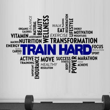 Train Hard Home Gym Wall Decal, Home Gym Vinyl Wall Sticker, Gym Room Decor